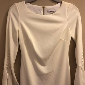 Calvin Klein White Dress with Bell Sleeves
